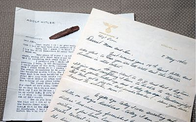Two letters are shown written by American soldiers on Adolf Hitler's stationery. (photo credit: AP Photo/Alex Brandon)
