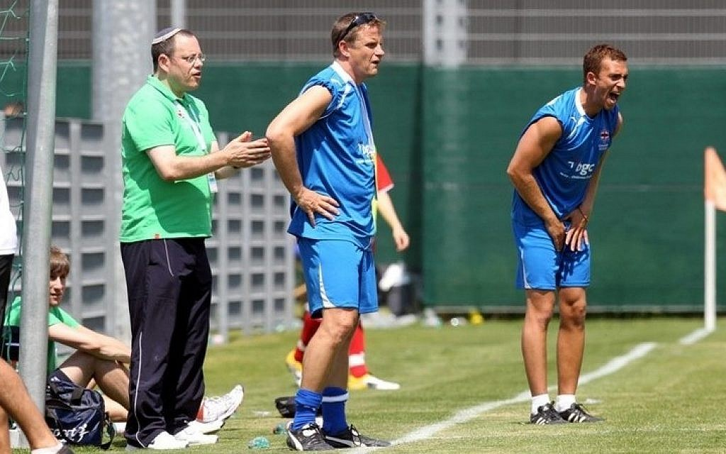 Scott Shulton (right) encourages his players at the European Maccabi games, 2011 (photo credit: courtesy)