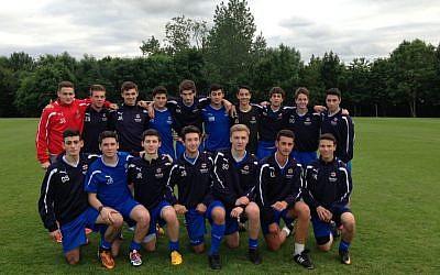 Great Britain's junior soccer team at Maccbiah 2013 (photo credit: courtesy)