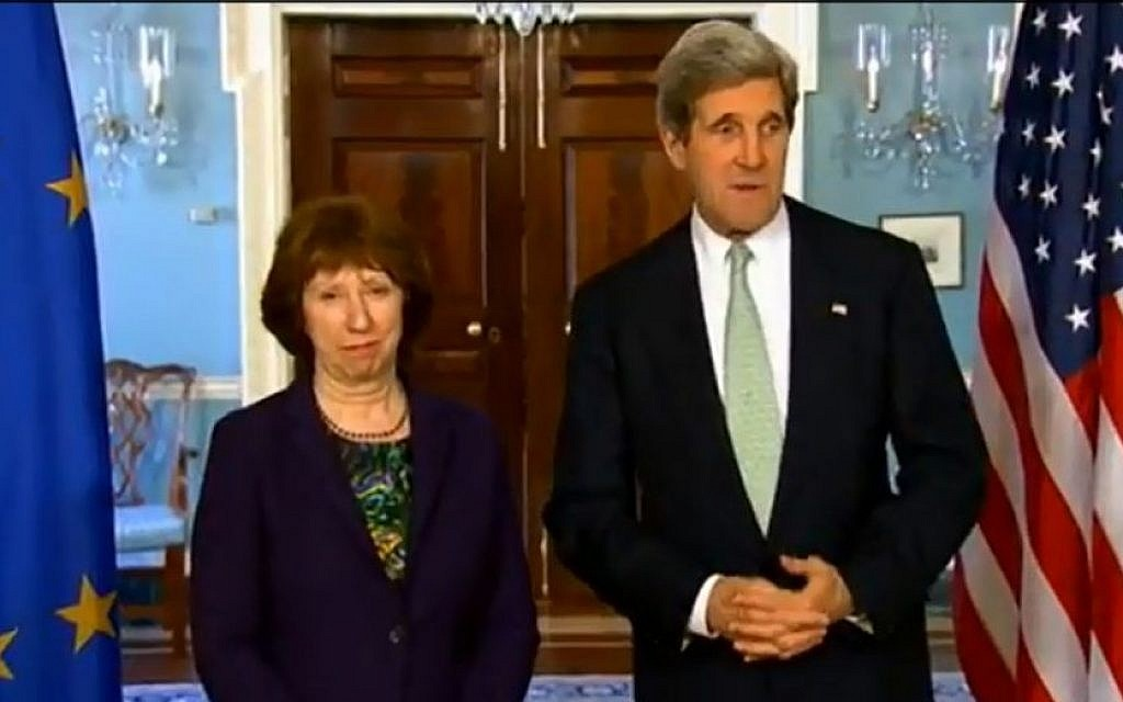 Secretary of State John Kerry with EU foreign policy chief Catherine Ashton in Washington, DC, in February 2013. (photo credit: Youtube screenshot)