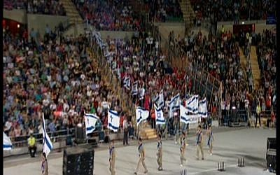 The Maccabiah opening ceremony Thursday. (Screenshot/ Channel 1)