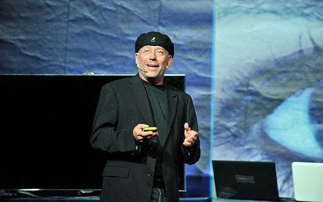 Mooly Eden, president of Intel Israel, talks 3D gesture technology at an Intel Israel event (Photo credit: Courtesy)