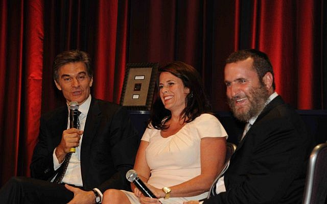 Oz, left, and Boteach, right, as well as Oz's wife, Lisa, speak at a gala honoring Dr. Oz, the Adelsons and Professor Elie Wiesel. (photo credit: This World: The Values Network)