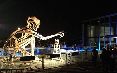 Sculpture in progress, at Contact Point (photo credit: Jessica Steinberg/Times of Israel)