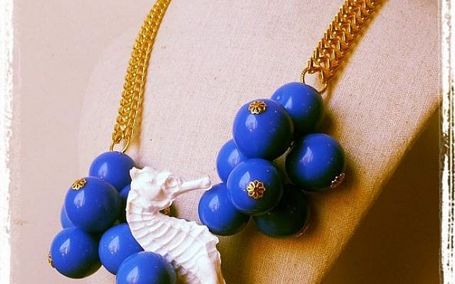 Sea horses and blue beads on a Shelly Dahari necklace (photo credit: Courtesy Shelly Dahari)