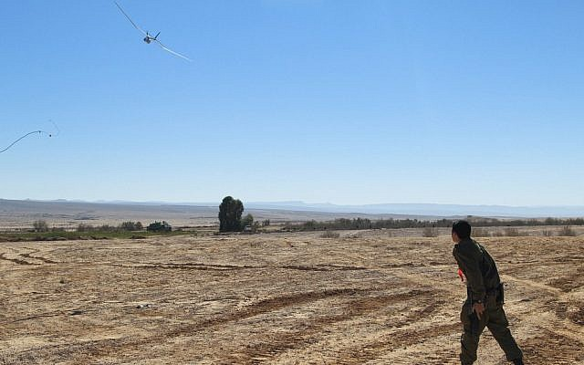 A soldier training with the man-portable and hand-launched skylark mini UAV (Photo credit: Courtesy: Cpl. Zev Marmorstein/ IDF Spokesperson's Unit)