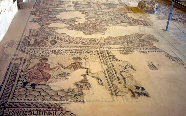 Synagogue: a mosaic depicts the Akeda -- the binding of Isaac (photo credit: Shmuel Bar-Am)