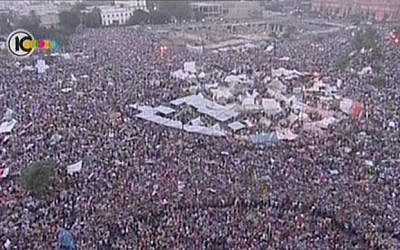 Hundreds of thousands of anti-Morsi protesters demonstrate at Cairo's Tahrir Square, one month before the military ousted him (photo credit: screen capture/Channel 10 news)