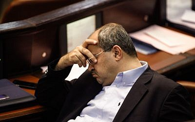 MK Ahmad Tibi seen during a Knesset plenum debate on a reform that would increase the electoral threshold, July 31, 2013. (photo credit: Flash90)