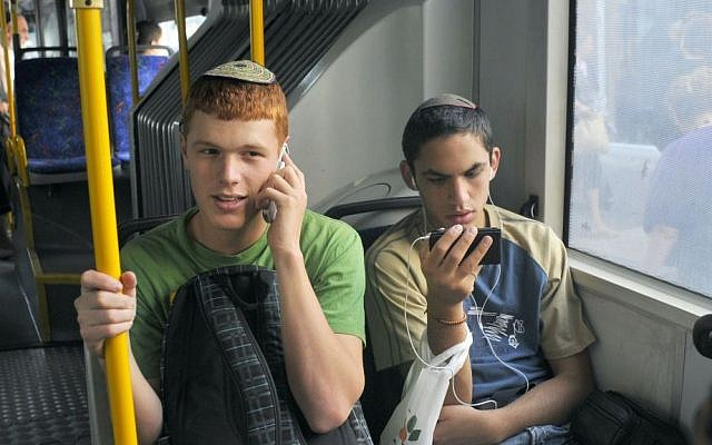 Ninety-one percent of Israeli children aged 12 to 14 have their own cell phone. Illustrative photo (photo credit: Serge Attal/Flash90)