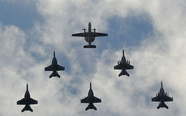 US Navy aircraft flying in formation in August. (photo credit: Mass Communication Specialist 3rd Class Ramon G. Go/US Navy, Department of Defense)