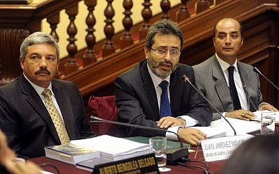 Peruvian Prime Minister Juan Jimenez, center (photo credit: CC BY-Congreso de la Republica del Perú/Flickr)
