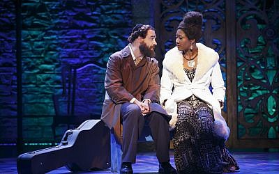 Eric Anderson plays Rabbi Shlomo Carlebach opposite amber Iman as Nina Simone in the new Broadway production 'Soul Doctor.' (photo credit: coutresy/Richard Kornberg & Associates, Carol Rosegg)