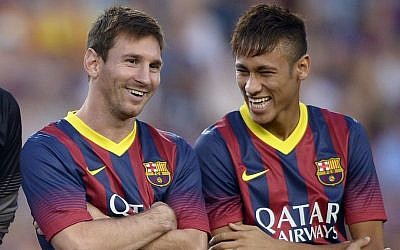Barcelona FC players Lionel Messi (left) and Neymar da Silva Juntos, pictured at a Spanish friendly match (photo credit: AP/Manu Fernandez)