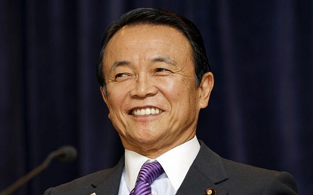 Taro Aso, Deputy Prime Minister of Japan, Minister of Finance, and Minister of State for Financial Services, April 19, 2013 in Washington. (photo credit: AP Photo/Alex Brandon)