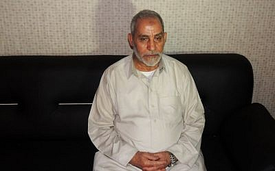 Mohammed Badie, the supreme leader of Egypt's Muslim Brotherhood, pictured after his detention in Cairo, Egypt, Aug. 20 (photo credit: AP/Egyptian Interior Ministry)