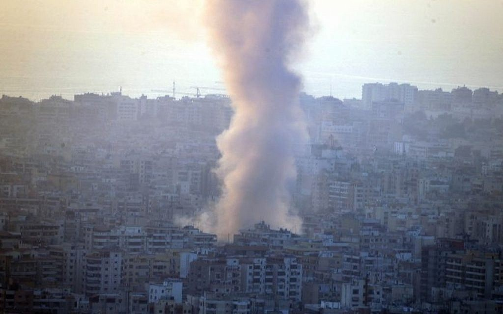 Illustrative: Smoke seen from Mount Lebanon rises from the site of a car bomb explosion in southern Beirut, Lebanon, Thursday, Aug. 15, 2013. (Photo credit: AP/Ahmad Omar)