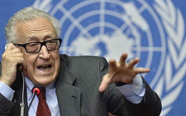 The UN Joint Special Representative for Syria Lakhdar Brahimi speaks on developments related to Syria during a press conference at the European headquarters of the United Nations in Geneva, Switzerland, Wednesday, Aug. 28, 2013. (Photo credit: AP/Keystone, Martial Trezzini)