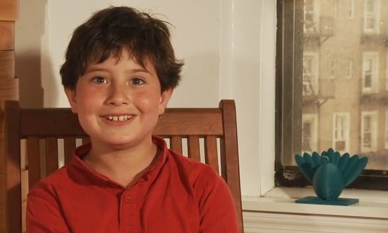 Manhattan fourth-grader Asher Weintraub alongside his Menurkey prototype. (photo credit: Kickstarter screenshot)