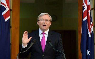 Australia's Prime Minister Kevin Rudd speaks during a press conference at the Parliament House in Canberra, Sunday, Aug. 4, 2013.  (photo credit: AP/AAP, Lukas Coch)