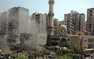 Twin blasts rocked the northern Lebanese city of Tripoli on Friday (photo credit: BBC via Twitter)