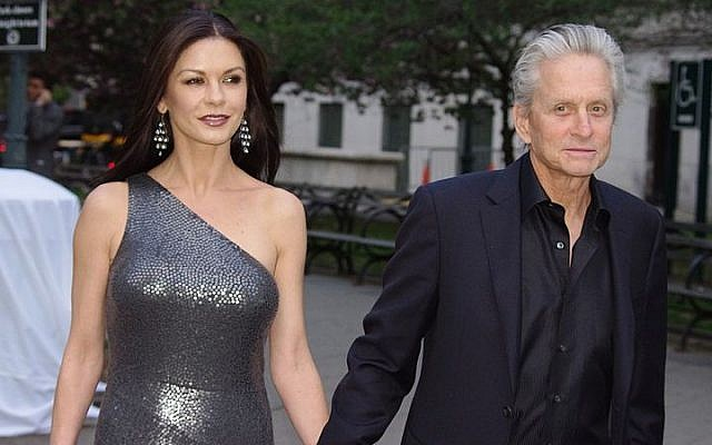 Catherine Zeta-Jones, left, and Michael Douglas in New York City, April 2012 (photo credit: David Shankbone/Wikimedia Commons/File)