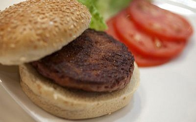 The world's first lab-grown burger could be parve and thus paired with dairy products. (David Parry/PA Wire)