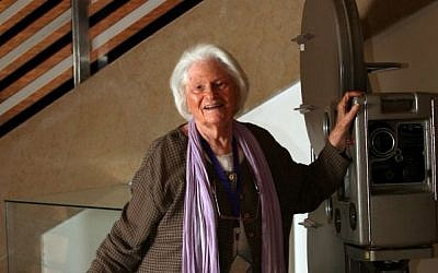 Lia Van Leer, the founder of the Cinematheque art house theaters, in the lobby of the Jerusalem Cinematheque (photo credit: Yossi Zamir/Flash 90)