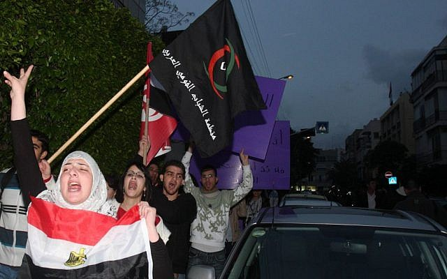 Protesters outside Egypt's embassy in Tel Aviv in 2011. (photo credit: :Roni Schutzer/Flash90)