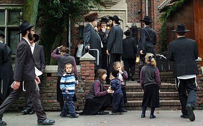 Hassidic Jews in Brooklyn, New York (photo credit: Mendy Hechtman/Flash90, illustrative)