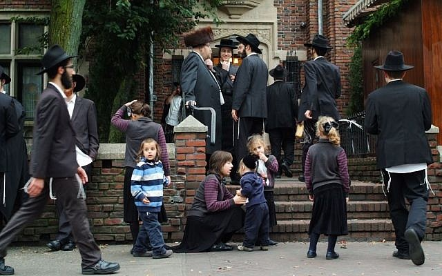 Hassidic Jews in Brooklyn, New York (photo credit: Mendy Hechtman/Flash90, illustrative)