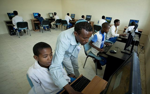 Young boys from the Falash Mura community in a computer class in Gondar, Ethiopia last year. (Photo credit: Moshe Shai/FLASH90)