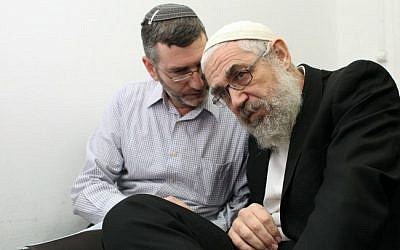 Rabbi Mordechai Elon (right) at the Magistrates Court in Jerusalem, 2012. (photo credit: Yoav Ari Dudkevitch/Flash90)