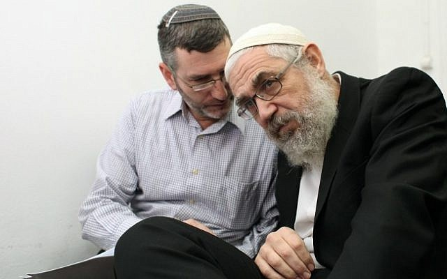 Rabbi Mordechai Elon (right) at the Magistrates Court in Jerusalem, 2012. (photo credit: Yoav Ari Dudkevitch/Flash90)