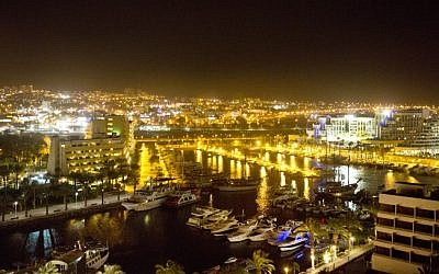 Eilat at night (photo credit: Moshe Shai/Flash90/File)