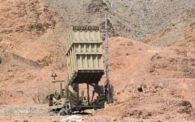 An Iron Dome battery deployed near Eilat (photo credit: Flash90/File)