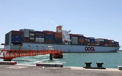 Illustrative picture of a container ship. (photo credit: Isaac Harari/Flash90)