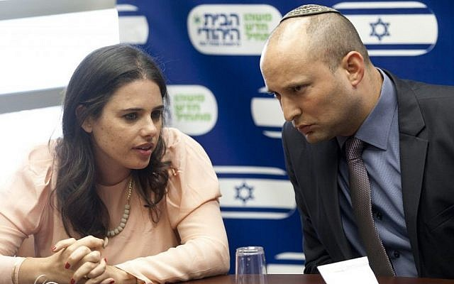 MK Ayelet Shaked (left), seen with Jewish Home Chairman Naftali Bennett during a party meeting at the Knesset. (photo credit: Flash90)