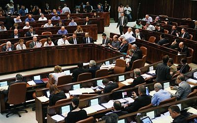 Illustrative photo of the Knesset plenum in session, July 29, 2013 (photo credit: Miriam Alster/Flash90)
