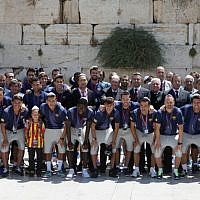 FC Barcelona football team at the Western Wall in Jerusalem's Old City,  August 04, 2013. (photo credit: Alex Kolomoisky/FLASH90)