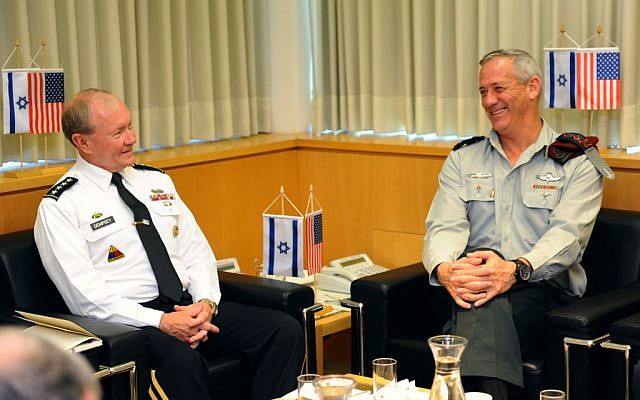 IDF Chief of General Staff Benny Gantz meets with US Chairman of the Joints Chiefs of Staff Gen. Martin Dempsey, at the Defense Ministry in Tel Aviv, on August 13 (Photo credit: IDF Spokesperson / Flash90)