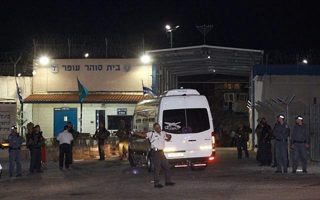 A prison van next Ofer Prison in August. (photo credit: Flash90)