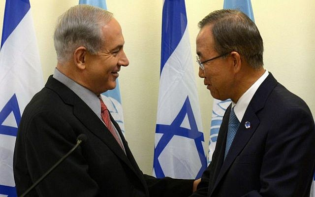 Benjamin Netanyahu, left, shaking hands with Ban Ki-moon in Jerusalem in August 2013. (photo credit: Amos Ben Gershom/GPO/Flash90/File)