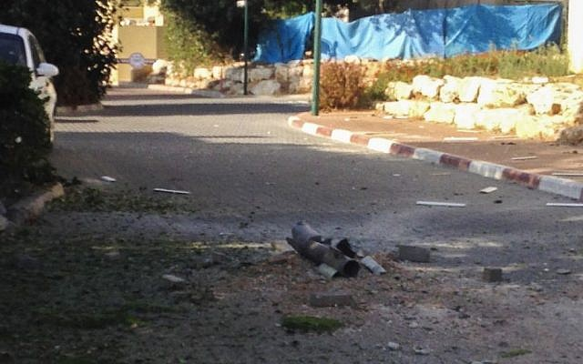 The landing site of a rocket fired into Israel's territory from Lebanon in August (photo credit: Kobi Snir/Flash90)