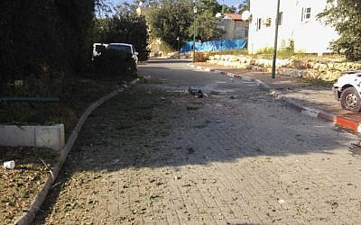 Rocket debris in the center of Kibbutz Gesher Haziv outside Nahariya (photo credit: Kobi Snir/Flash90)