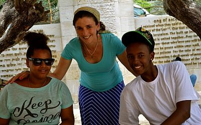 Gila Rockman, center, Counterpoint Israel director, with two campers. (photo credit: courtesy Counterpoint)