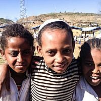 Boisterous classmates at the school in Gondar, which doubled up on the local curriculum as well as Jewish and Hebrew studies, to prepare students for life in Israel (photo credit: Michal Shmulovich/ToI)