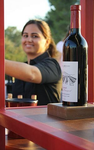 Karel Dagun serving wine at the festival (photo credit: Sarah Sheafer/Times of Israel)