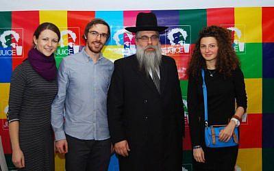 Left to right, Juice co-organizers Inna Yampolskaya and Igor Kozlovskiy, Ukrainian Chief Rabbi Yaakov Rabbi Bleich and the American Jewish Joint Distribution Committee's Lilya Vendrova at a Juice event in Kiev, November 2012. (photo credit: Courtesy Juice/JTA)