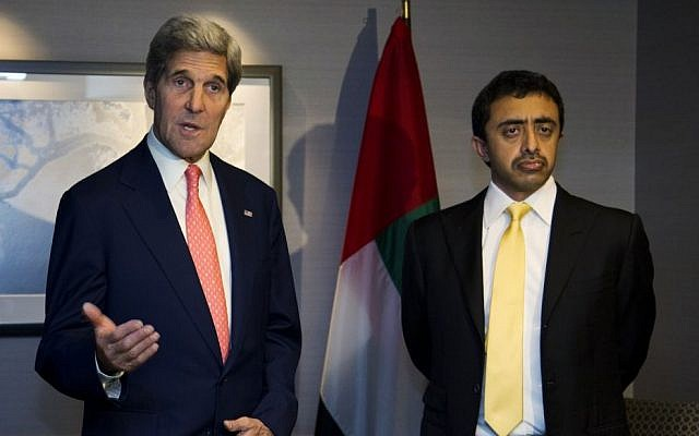 US Secretary of State John Kerry meets with United Arab Emirates Foreign Minister Abdullah bin Zayed Al Nahyan in London, Friday, Aug. 2 (photo credit: AP/Jason Reed)